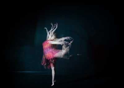 a girl in multiple moves of a dance move with strobe lighting technique