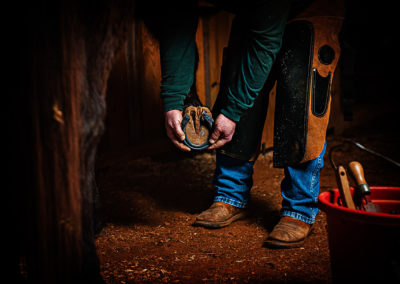 Man holding a horsehoe up to a horse hoof to check for size before nailing it in