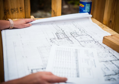 architectural drawings at a construction site